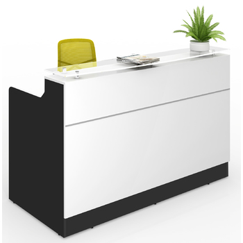 Classic White and Charcoal Reception Desk Counter