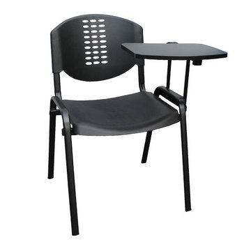 SIM Black Stackable Plastic Chair with Tablet Arm