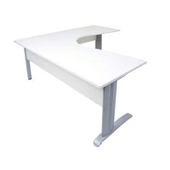 Rapid White Corner Desk with Modesty Panel - Silver Frame