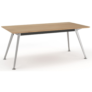 Team Beech Executive Boardroom Table - Polished Alloy Frame