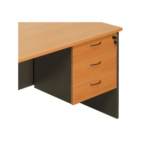 Express Fixed 3 Drawer Desk Pedestal - Beech/Ironstone