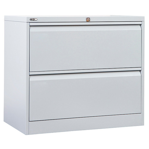 GO Steel Lateral Filing Cabinet 2 Drawer - Silver Grey