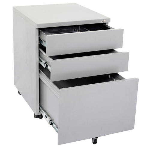 Go Steel Silver 3 Drawer Mobile Pedestal