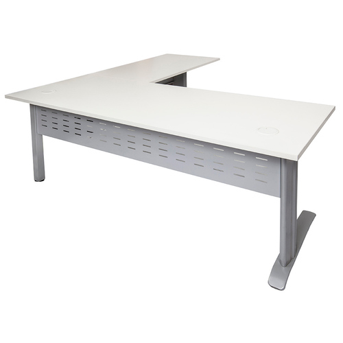 Rapid Span White Desk with Return - Silver Frame
