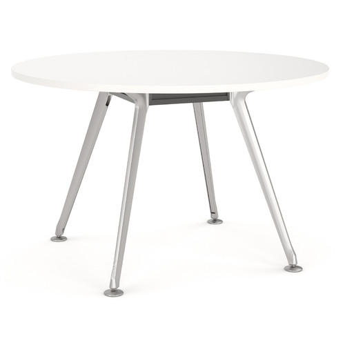 Team Round Meeting Table - 900mm - Polished Alloy Frame