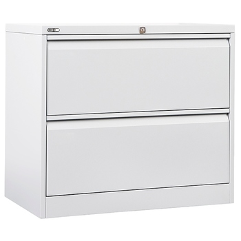 GO Steel White Lateral Filing Cabinet 2 Drawer