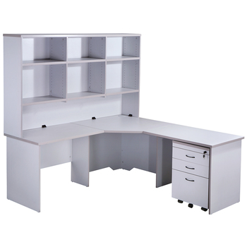 Express Grey Corner Workstation Desk with Hutch and Pedestal