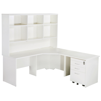 Express White Corner Workstation Desk with Hutch and Pedestal