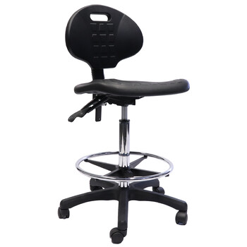 Black Laboratory Drafting Height Stool
