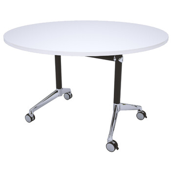 Modulus Round Flip Top Table Black Frame White Top