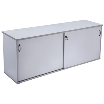 Express Large Grey Sliding Door Storage Credenza
