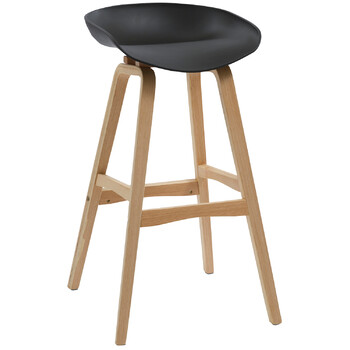 Virgo Oak Timber Black Bar Stool