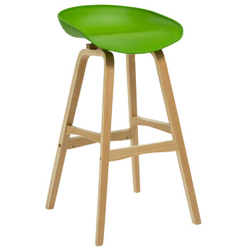 Virgo Oak Timber Greem Bar Stool