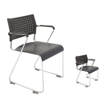 Wimbledon Chrome Sled Base Chair with Arms