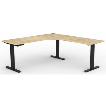 Agile Corner Electric Sit Stand Desk Black New Oak