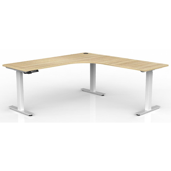 Agile Corner Electric Sit Stand Desk White New Oak