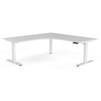Agile Corner Electric Height Adjustable Standing Desk - White Frame