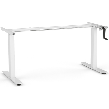 Agile White Manual Height Adjustable Desk Frame