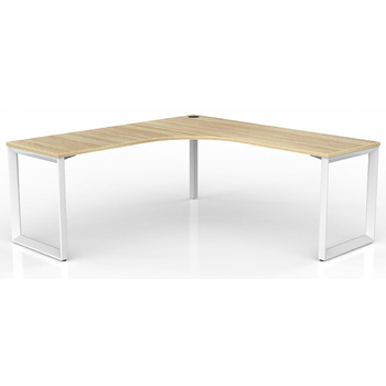 Anvil Modern Corner Desk White Frame New Oak Desk Top