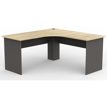 EkoSystem Corner Workstation Office Desk - New Oak/Charcoal