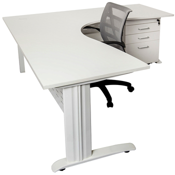 Rapid White Corner Office Desk Workstation - White Frame