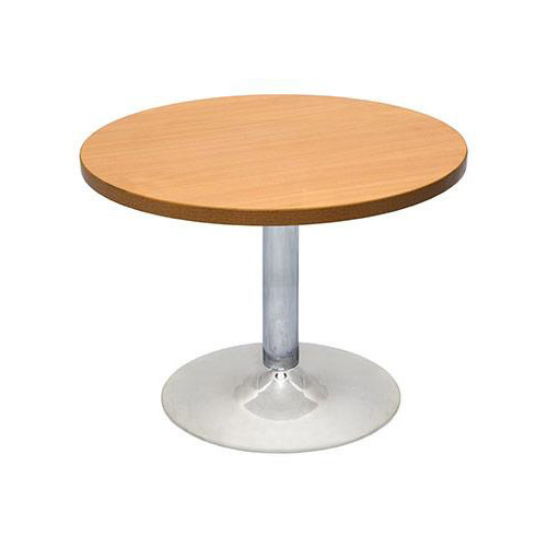 Chrome Base Round Coffee Table - Beech