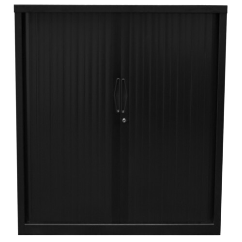 Go Steel Small Black Tambour Storage Cupboard