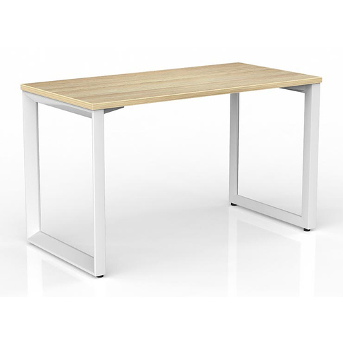 Anvil Modern Office Desk White Frame New Oak Desk Top - 1200mm x 600mm
